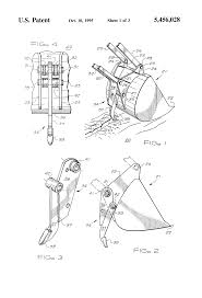 patent us5456028 backhoe bucket ripper attachment google patents