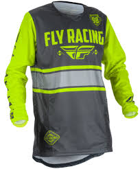 fly motocross jersey kinetic era grey hi vis jersey fly racing motocross mtb bmx