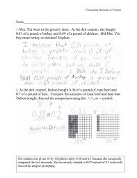 Placing Decimals On A Number Line Worksheet Comparing Decimals In Context Students Are Asked To Compare Two