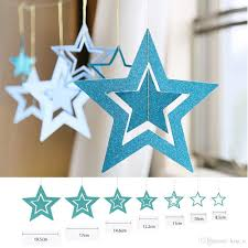 Baby Shower Boy Wall Decorations Blue Star Paper Garlands Wall Hollow Hanging For Wedding Decorations