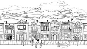 8 images of town street coloring page old western town coloring
