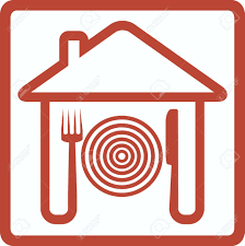 icon with knife fork and plate in house silhouette royalty free