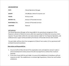 10 operation manager job description templates u2013 free sample
