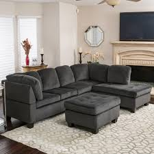 couch and sofas amazon com gotham 3 piece charcoal fabric sectional sofa set