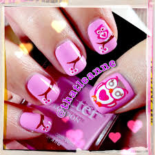 thatleanne owl love you forever cute owl nail art