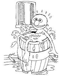 sesame street coloring pictures bath in a barrel