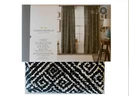 curtain hanging styles amazon com threshold black diamond print window panels x 2 w