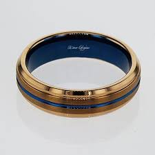 mens blue wedding bands blue and gold color tungsten men s wedding band 6mm