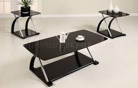 Coffee Tables Black Glass Black Glass Modern 3pc Coffee Table Set W Metal Frame
