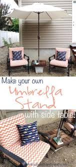 Patio Umbrella Stand Side Table Diy Patio Umbrella Stand Side Table We Create Pinterest