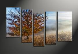 Home Decor Trees by 5 Piece Canvas Brown Landscape Trees Art