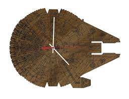 star wars millennium falcon wood wall clock gadget flow