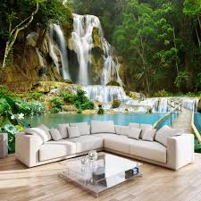 customized size nature landscape photo mural 3d green forest forest waterfall nature landscape photo wall mural for bedroom living room sofa backdrop decor non