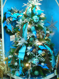 christmas tree decorations blue and green ne wall