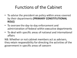 Role Of Cabinet Members Revision Lesson The Presidency