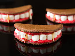 win at halloween with these vampire mouth sandwich cookies