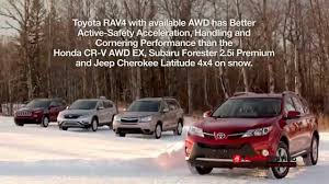 toyota awd cars amci winter driving performance test winner 2015 toyota rav4 xle