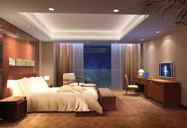 rendering of minimalist bedroom ceiling lights interior design