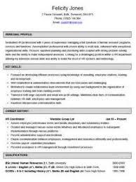 hr coordinator resume samples curriculum vitae template german