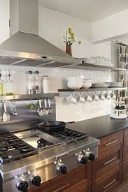 Floating Shelves Kitchen by Suzie Amoroso Design Stainless Steel Floating Shelves Stacked