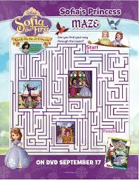 disney sofia ready princess printable maze