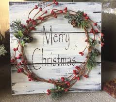rustic christmas rustic christmas winter wood pallet sign w berry garland pine cones