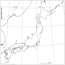 Empty Usa Map by Blank Map Of Main Japanese Cities With Parallels And Meridians