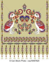 ukraine pattern vector flower and bird embroidered ethnic ukraine pattern vector