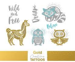 metallic temporary tattoos gold silver sugar skull