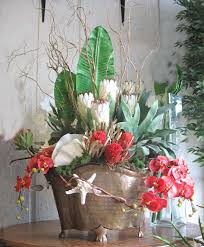 table top flower arrangements silk flower arrangement ideas home decorating with tropical