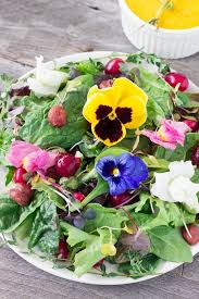 Salad With Edible Flowers - salad with carrot raspberry ginger dressing eat thrive glow