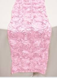pink rosette table runner tablecloths and napkins rodriguez imports champagne ribbon rosette
