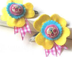 Flower Clips For Hair - yellow hair flower etsy