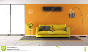 Orange Livingroom by Living Room With Air Conditioner Stock Illustration Image 53278948