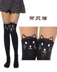 cute kitten knee high tattoo stockings pantyhose tights leggin
