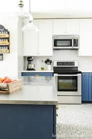 are two tone kitchen cabinets still in style 2021 blue white two tone kitchen reveal houseful of handmade