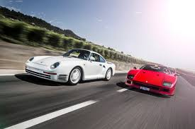 porsche 959 and ferrari f40 the supercars that the group b gave birth