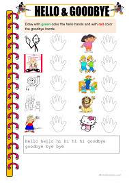 19 free esl hello goodbye worksheets