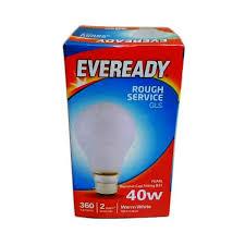 rough service light bulbs buy an eveready 40w rough service gls pearl bayonet cap b22 bc