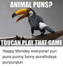 Animal Pun Meme - animal puns toucan play that game happy monday everyone pun puns