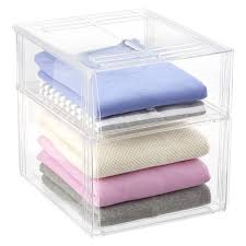 premium stackable shirt u0026 sweater bins the container store