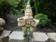 cool garden gnome with planter vintage cement concrete