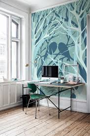 forest wall mural applied to give natural view in home office forest wall mural applied to give natural view in home office completing outside view presented through large windows