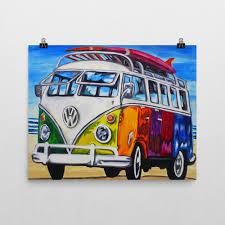 volkswagen van art rainbow surf bus vw campervan surfing art by kludoman art