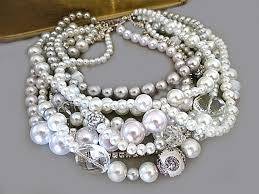 statement necklace pearl images Pearl statement necklace chunky bridal necklace wedding necklace jpg