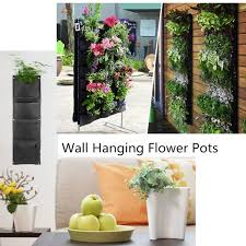 Decorative Indoor Planters Decorative Indoor Wall Mounted Fabric Polyester Hanging 4 Pockets