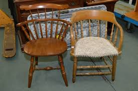 Antique Captains Chair Vilas Maple Windsor Style Chair And A Vintage Captain U0027s Chair With