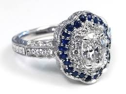 vintage oval engagement rings blue sapphire engagement rings from mdc diamonds nyc