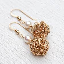 original earrings 14ct gold filled bird s nest pearl earrings by indivijewels