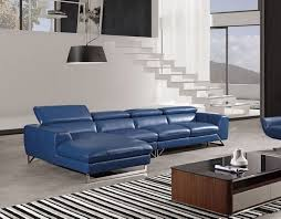 Top Grain Leather Sectional Sofa American Eagle Ek L030 3pcs Blue Top Grain Leather Sectional Sofa